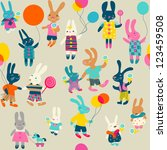 seamless pattern with hare | Shutterstock .eps vector #123459508