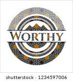 worthy arabic badge. arabesque... | Shutterstock .eps vector #1234597006