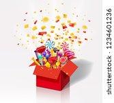 christmas sweet gift box.... | Shutterstock .eps vector #1234601236