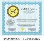 light blue sample certificate... | Shutterstock .eps vector #1234610029
