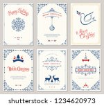 ornate merry christmas greeting ... | Shutterstock .eps vector #1234620973