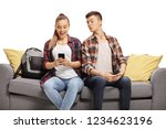 teenage boy peeking at the... | Shutterstock . vector #1234623196