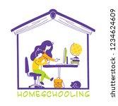 homeschooling or home education ... | Shutterstock .eps vector #1234624609