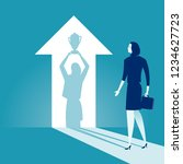 the winner. businesswoman... | Shutterstock .eps vector #1234627723