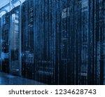 data center room with binary... | Shutterstock . vector #1234628743