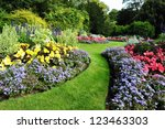 colourful flowerbeds and... | Shutterstock . vector #123463303