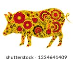 pig in traditional russian... | Shutterstock .eps vector #1234641409