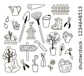 set of gardening doodles.... | Shutterstock .eps vector #1234648513