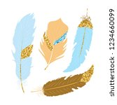 set of blue and gold glitter... | Shutterstock .eps vector #1234660099