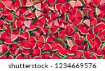 heap of watermelon slices... | Shutterstock . vector #1234669576