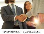 businesspeople  shaking hands...   Shutterstock . vector #1234678153