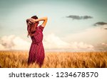 style redhead girl in red dress ... | Shutterstock . vector #1234678570