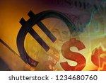 euro and us dollar symbol.... | Shutterstock . vector #1234680760