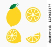 fresh lemon fruits  collection... | Shutterstock .eps vector #1234689679