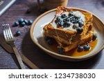blueberry french toast ... | Shutterstock . vector #1234738030