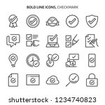 check mark  bold line icons.... | Shutterstock .eps vector #1234740823