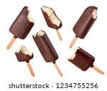 set of bitten ice cream on a... | Shutterstock . vector #1234755256