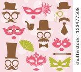 retro party set   glasses  hats ... | Shutterstock .eps vector #123477508