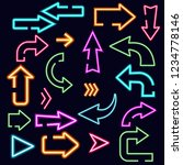 neon arrows set  vector... | Shutterstock .eps vector #1234778146