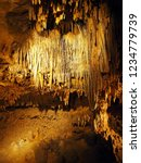 Details of the Cave of the Mounds in Wisconsin (USA). Limestone cave with numerous stalactites and stalagmites (and other formations).