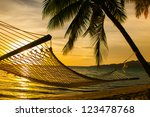 Hammock Silhouette With Palm...