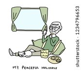 mature man reclining on pillows ... | Shutterstock .eps vector #1234796653