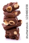 chocolate pieces with nuts... | Shutterstock . vector #123480358