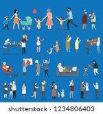 crowd of tiny people walking...   Shutterstock .eps vector #1234806403