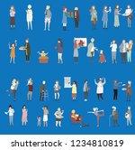 crowd of tiny people walking...   Shutterstock .eps vector #1234810819