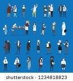 crowd of tiny people walking...   Shutterstock .eps vector #1234818823