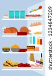 open fridge inside view. lot of ... | Shutterstock .eps vector #1234847209
