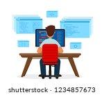engineer programmer is working... | Shutterstock .eps vector #1234857673
