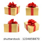 golden gift box collection...   Shutterstock . vector #1234858870