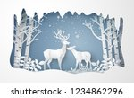 deer in forest with snow.vector ... | Shutterstock .eps vector #1234862296
