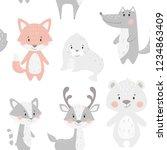 reindeer  raccoon  seal  wolf ... | Shutterstock .eps vector #1234863409