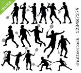 men silhouettes play badminton... | Shutterstock .eps vector #123487279
