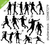 men silhouettes play badminton... | Shutterstock .eps vector #123487279
