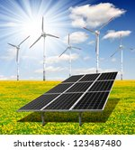 solar energy panels and wind... | Shutterstock . vector #123487480