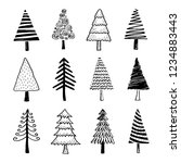 hand drawn set of christmas... | Shutterstock .eps vector #1234883443