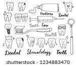 hand drawn set of dental ... | Shutterstock .eps vector #1234883470