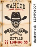 wanted poster template. cowboy... | Shutterstock .eps vector #1234906009
