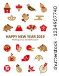 boar   new years luck simple... | Shutterstock .eps vector #1234907740