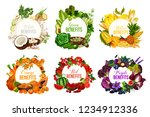 fruits and vegetables  detox... | Shutterstock .eps vector #1234912336