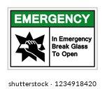 in emergency break glass to... | Shutterstock .eps vector #1234918420