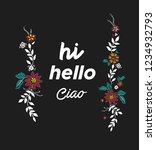 slogan with embroidery flowers | Shutterstock .eps vector #1234932793