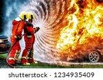 firefighter training.  fireman... | Shutterstock . vector #1234935409