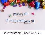 merry christmas word on wooden... | Shutterstock . vector #1234937770