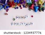 merry christmas word on wooden... | Shutterstock . vector #1234937776