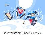 happy children skiing flat... | Shutterstock .eps vector #1234947979