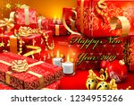 new year 2019 with gifts... | Shutterstock . vector #1234955266